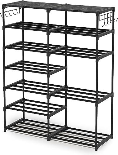 2021 Shoe Rack Shoe Tower Shoe Shelf Shoe Storage Organizer lowest wholesale Unit Entryway Shelf Stackable Cabinet 24-30 Pairs 7-Tier Durable Metal Shoe Rack Boots Organizer by Tribesigns sale