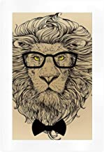 ALUONI Indie Wall Artworks Pictures,Lion Character Portrait with Glasses and Bowtie Hipster Smart Cool Dandy,10''L x 7''W