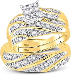 10k Yellow and White 2 Two Tone Gold Mens and Ladies Couple His & Hers Trio 3 Three Ring Bridal Matching Engagement Wedding Ring Band Set - Round Diamonds - Princess Shape Center Setting (1/4 cttw) - Please use drop down menu to select your desired ring sizes