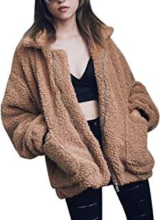 Women's Lapel Long Sleeve Faux Shearling Coat Winter Boyfriend Winter Faux Coat