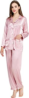 Womens Satin Pajama Set Button Down Sleepwear Long Pj XS-3XL