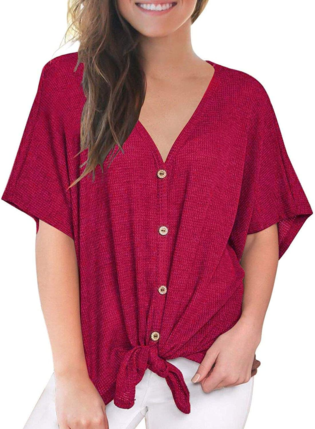 Defal Womens Sexy V Neck Short Sleeve Button Knitting Henley Shirt Loose Front Tie Top