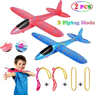 2 Pcs Aerobatic Slingshot Plane 2 Flight Mode Glider Airplane 2 Ways to Play Outdoor Flying Toy for Kids as Gift,by MIMIDOU.