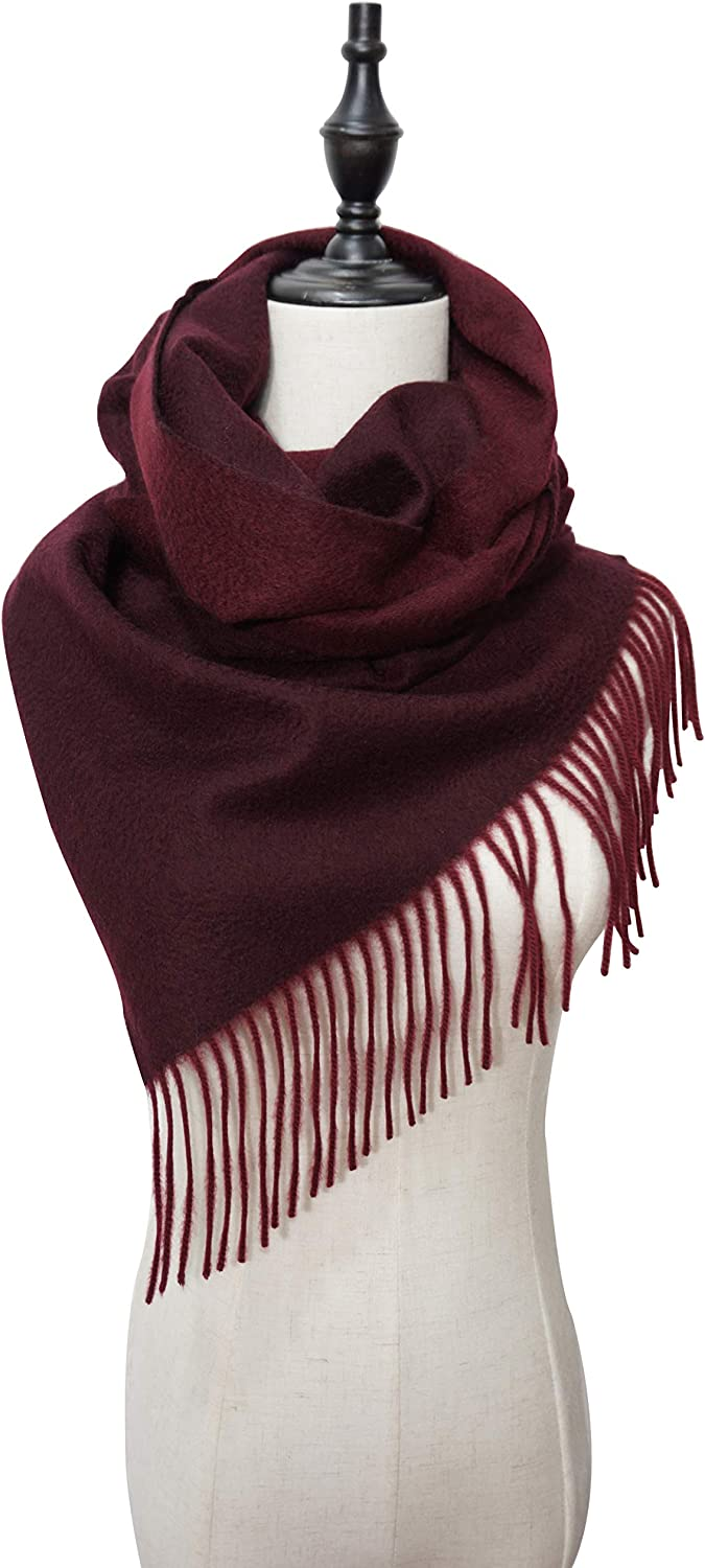 CELINE & CHERIE Women Reversible Double Sided 100% Cashmere Scarf Shawl Wrap 78.7x15.7in