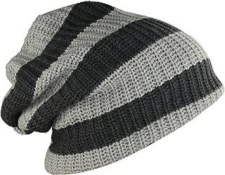 MINAKOLIFE Mens Striped Slouch Large Beanie Warm Skull Cap Hat Oversize