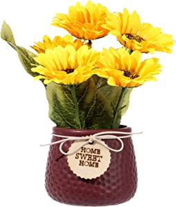 Artificial Sunflower and Ceramic Potted Plants False Flower Arrangement Decoration Home Garden Decoration Wedding Decor Or Office (Red)