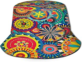 Fisherman Hat Colorful Backgrounds Geometric Flowers Bucket Hat Unisex 3D Printed Packable Bonnie Cap UV Protect Lightweight Sun Hat for Picnic Hunting Fishing Golf Hiking