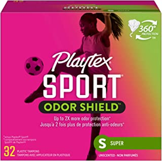 Playtex Sport Odor Shield Tampon, Super Absorbency, Unscented, 32 Count