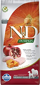 Farmina Natural & Delicious Grain-Free Chicken, Pumpkin and Pomegranate Dry Medium and Maxi Breed Dog Food 26.4 Pounds