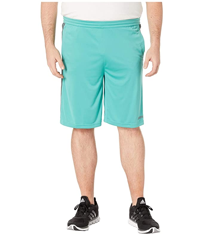 adidas Big Tall D2M 3-Stripe Shorts (True Green/Grey Six) Men