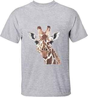 Mens Cute Animal Watercolor Giraffe Tshirts for Men