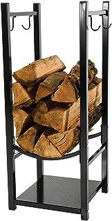 Sunnydaze Firewood Log Rack with Tool Holders, Indoor or Outdoor Wood Storage, Black