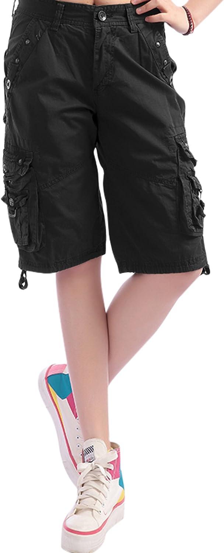 Chouyatou Women's Casual Loose Fit MultiPockets Twill Bermuda Cargo Shorts