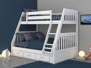 Discovery World Furniture Twin Over Full Bunk Bed with 3 Drawers, Desk, Hutch and Chair in White Finish