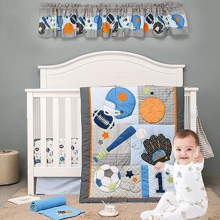 Brandream Sport Crib Bedding Sets for Baby Boys Best Athlete No.1 Champ Baseball, American Football, Rugby, Basketball, Ho...