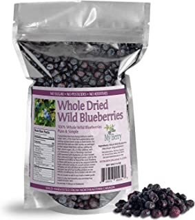 Dried Wild Blueberries, No Added Sugar, No Pesticides, Not Cultivated Berries, Small, Woman-Owned Company