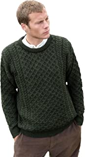 100% Irish Merino Wool Traditional Crew Neck Aran Jumper by Carraig Donn