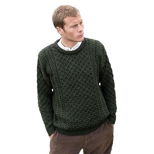 3c83780a284e3e Aran Crafts Men's Merino Wool Crew Neck Sweater