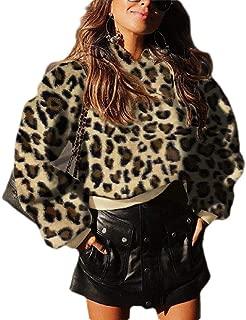 UUYUK Women Winter Sherpa Fuzzy Crop Top Pullover Hooded Sweatshirt