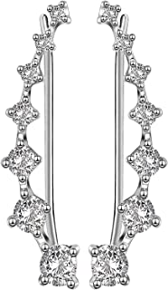 Sterling Silver Sweep up Ear Pin Crawler Cuff Wrap Climber Earrings with 7 CZ Stones