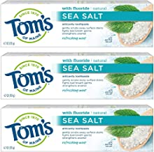 Tom's of Maine Sea Salt Natural Toothpaste, Natural Toothpaste with Fluoride, 4.7 Ounce 3-Pack
