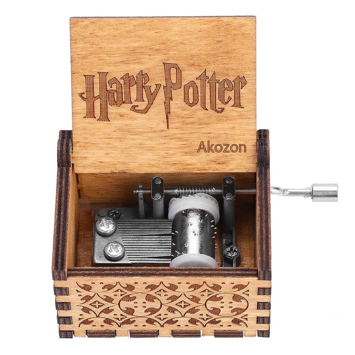 Akozon Music Box 1pc Wooden Hand Crank Music Box Mechanical Hand Crank Classic Craft Birthday Gift