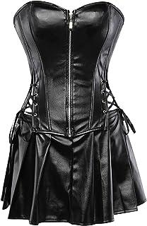 Blidece Women's Punk Rock Faux Leather Corsets for Women Boned Waist Cincher Bustier Overbust Gothic Corset Set