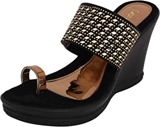Catwalk Women's Black Wedge Sandals Fashion