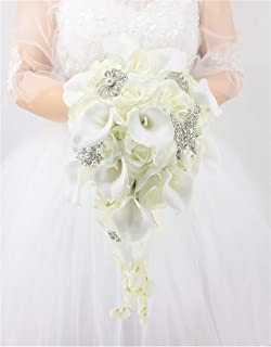 Abbie Home White Calla Lily and Rose Cascading Bride Bouquet Waterfall Wedding Flower - Lily Rhinestone Jewelry Brooches and Satin Ribbon Décor (White)