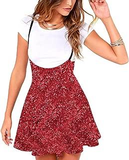 RARITY-US Women's Mini Suspender Skirt High Elastic Waist Versatile Flared Hem Overall Dress Sleeveless Sundress