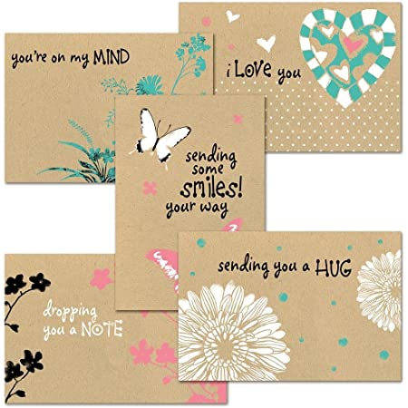 """Thinking of You Kraft Greeting Card Value Pack - Set of 20 (5 designs), Large 5"""" x 7"""" Friendship Cards, Envelopes Included"""