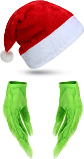 Syhood 2 Pieces Green Furry Gloves and Christmas Hat Halloween Cosplay Costume Accessory Halloween Christmas Party Supplies