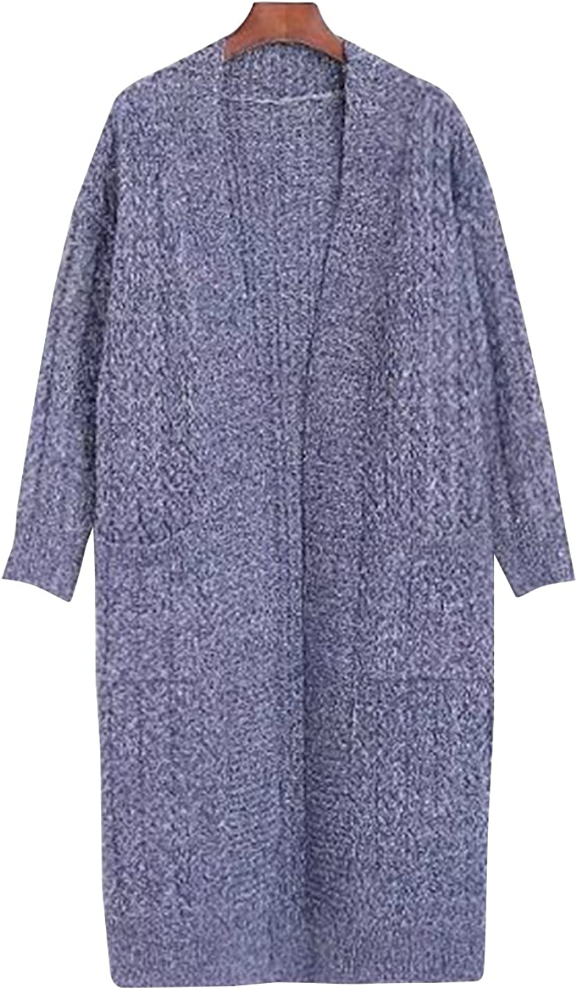 Uaneo Women's Classic Heather Long Sleeve Knit Sweater Open Front Warm Cardigan Outerwear