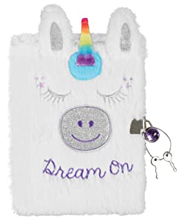 Three Cheers for Girls by Make It Real - Unicorn Locking Plush Journal - Secret Diary for Girls with Lock & Key - Lined 3-D Notebook & Fluffy Pen - Lockable Journal Stationery Set
