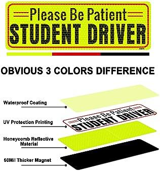 BOKA Student Driver Magnet for Car, Enhanced Magnetic Vehicle Bumper Magnet for New Driver, Reflective Strong Magneti...