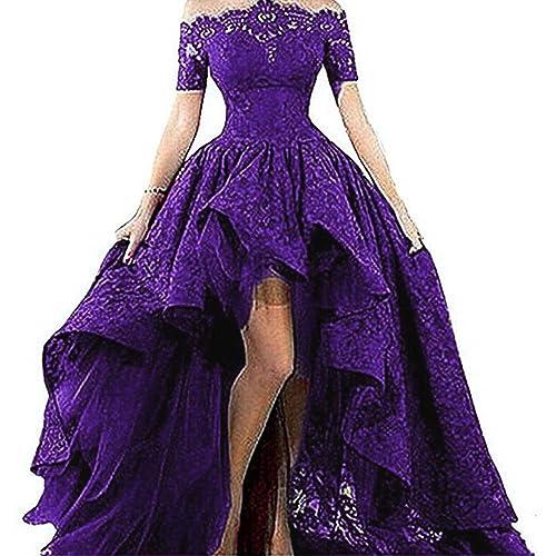 d15bdf7aa042 Diandiai Women s Hi-Lo Prom Dress Short Sleeve Lace Evening Dress 2019 Black  Off The