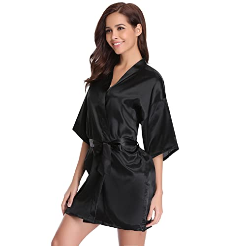 Women s Kimono Robes Satin Pure Colour Short Style with Oblique V-Neck Robe ae94b62f6