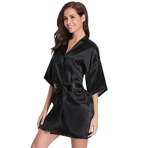 a59cb605da Women s Kimono Robes Satin Pure Colour Short Style with Oblique V-Neck Robe