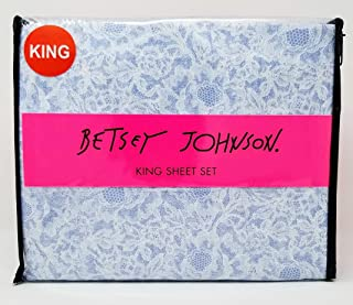 Betsey Johnson 4pc King Sheet Set - Poise Lace in Blue and White