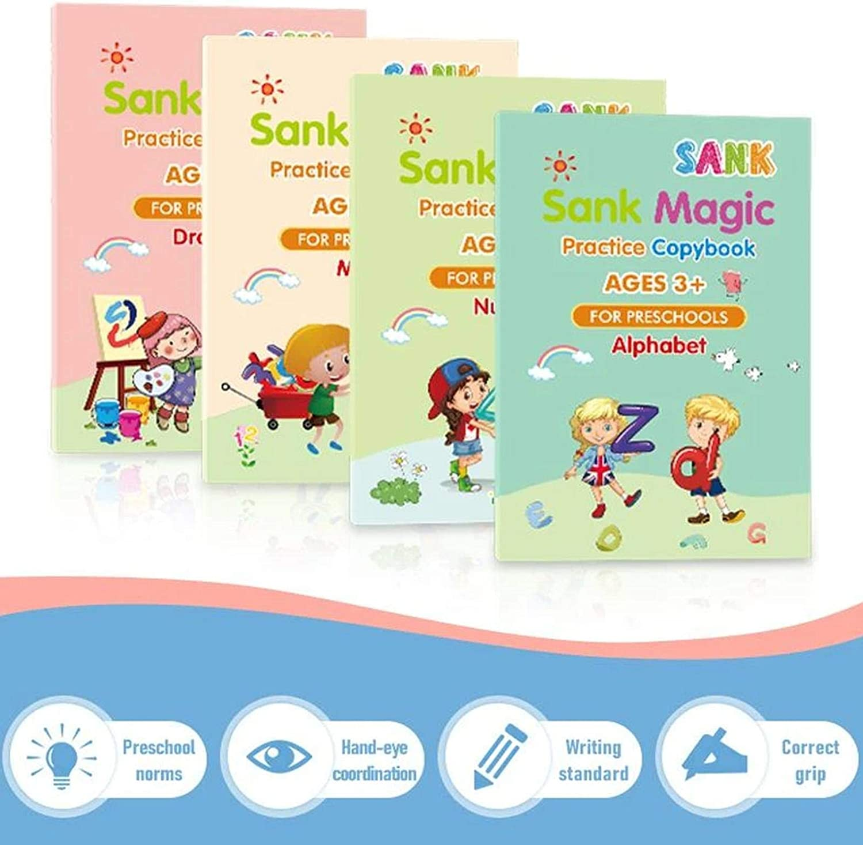 Nummernverfolgungsbuch mit Stift Leiyini Trading Sank Magic Practice Copybook /Übung f/ür Kinder im Alter von 3 bis 5 Jahren Briefverfolgungsbuch f/ür Kinder im Vorschulalter