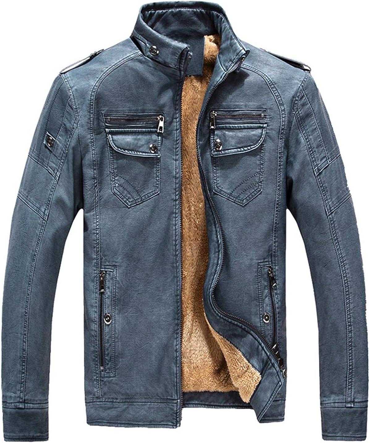 Lentta Men's Vintage Stand Collar Long Sleeve Zipper Faux Leather Fleece Jacket Coat