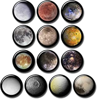 Dwarf Planets & Moons 13 pcs Button Fridge Magnets Set Pack Astronomy Universe Stars 601-P003 Solar System Spcae Galaxy Pluto Ceres,Home Kitchen Refrigerator Decor Gifts (Round 1.5 inch|3.7cm)