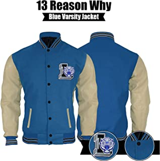 UGFashions Men's 13 Reasons Justin Letterman L Varsity Bomber Wool PU Sleeves Jacket