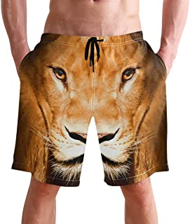 Beach Shorts, Lion Animal Printed Mens Trunks Swim Short Quick Dry with Pockets for Summer Surfing Boardshorts Outdoor Wat...