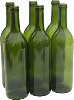North Mountain Supply 750ml Glass Bordeaux Wine Bottle Flat-Bottomed Cork Finish - Case of 6 - Champagne Green