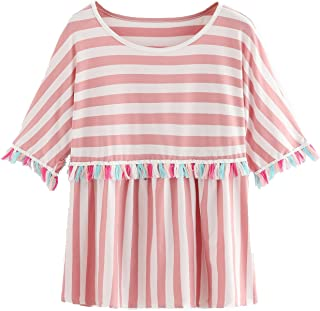 Romwe Women's Short Sleeve Colorblock Striped Print Fringe Trim Ruffle Tee Blouse Top