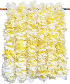 LITTLE FEATHER Large White Flower Leis for Tropical Hawaiian Luau Bridal Shower Party Favors,Pack of 6Pcs