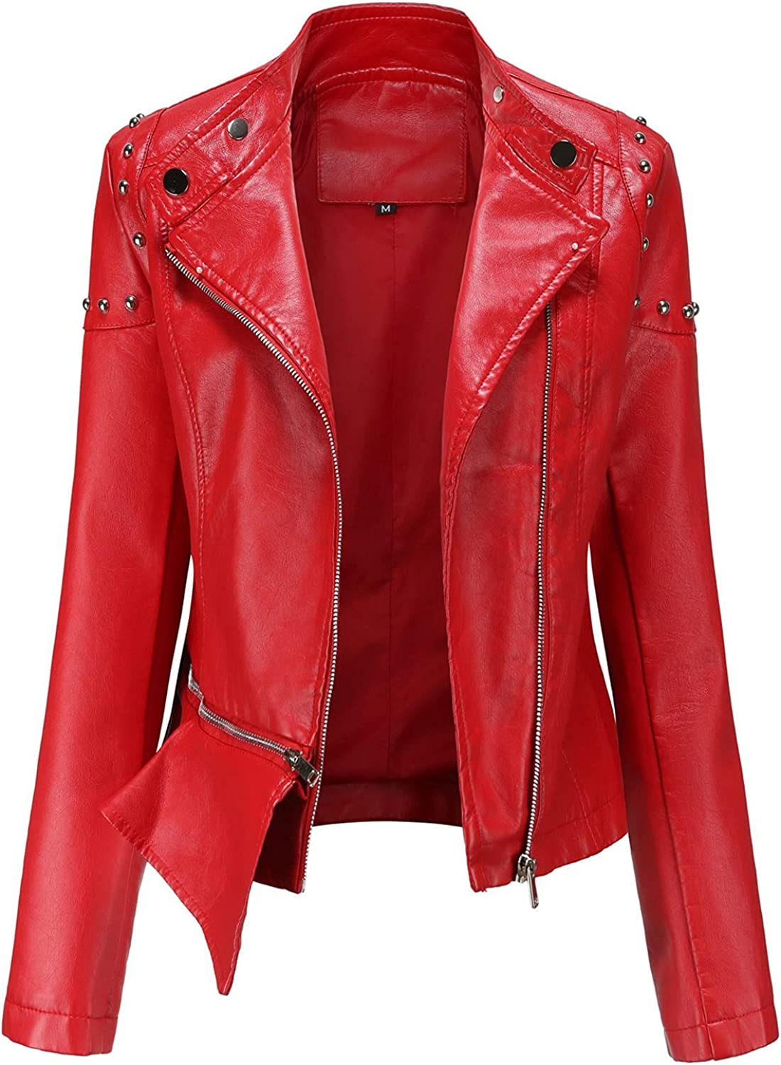 Women's Zip Up Faux Leather Black Jacket With Pockets,Fashion Fall Winter Plus size Short Lightweight Motorcycle Coat Tops