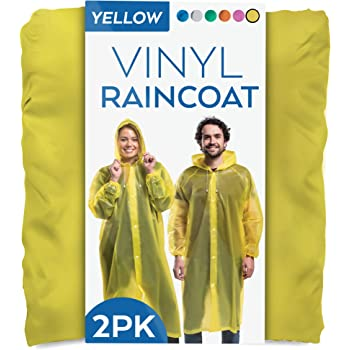 2 PK 100% Vinyl Clear Raincoat Poncho Long Sleeves Snap Closure Rain Jacket OSFM