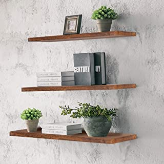 Kosiehouse Wall Mounted Floating Shelves, Rustic Wood Hanging Wall Decorative Shelf Display Ledge Storage Rack for Living Room, Kitchen, Bathroom, and Bedroom - Set of 3